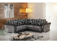 FARROW CORNER SOFA in Faux SUEDE & CHENILLE FABRIC , 2+3 SEATER in Brown or Black, Swivel Chairs
