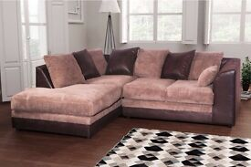 Comfy Brand New brown and beige cord corner sofa. delivery