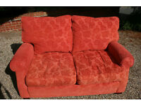 2 seater sofa and chair in red