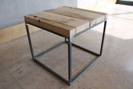 Industrial Side Table, Coffee Table, Timber Top, Steel Frame