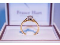"""18ct Yellow gold 0.25 carat flower cluster ring - Size """"O"""""""