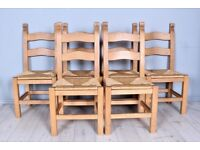 DELIVERY OPTIONS - SET OF 6 SOLID BEECH FARMHOUSE CHAIRS STURDY WAXED RUSTIC