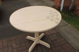 Painted Solid Wood Table and 2 Chairs