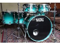 Natal Drum Kit for sale- 6 piece Walnut -aqua fade