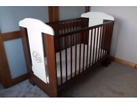 BABY BED COT WOODEN + MOTHERCARE MATTRESS. LOVELY AND IN EXCELLENT CONDITION
