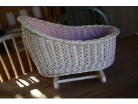 White wicker baby dolls craddle