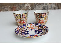 Antique Royal Crown Derby Imari Hand Decorated Coffee Cups and Saucer Damage