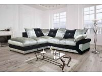 CRUSH VELVET FABRIC CORNER SOFAS 3 AND 2 SEATTER SUITES