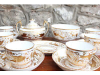 Beautiful George III Early Minton Tea Set 1810 Antique Handpainted Birds Gilded Georgian Mintons
