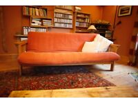 Double futon sofa bed with wooden frame