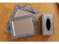2 Metal Tray and 1 Tissue Box Set