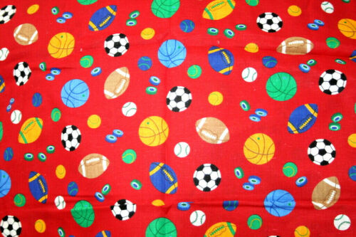 ALL SPORTS EQUIPMENT ON RED -  100% COTTON FABRIC