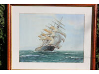 large Oil Painting Sailing Ship on Sea Signed Art Nautical Maritime Framed Picture Clipper Boat