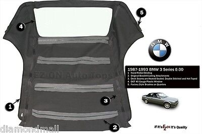 BMW E30 Convertible Soft Top 318 325I 3 series 86 - 93 roof  E-Z On Brand GERMAN