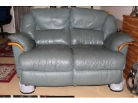 Leather 2 seat green sofa.