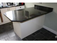 Breakfast Bar with Integrated Fridge & Freezer - Granite Top