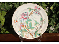 Large and Unusual 19th Century Victorian Plate with Rose and Thorns Handpainted over Transfer