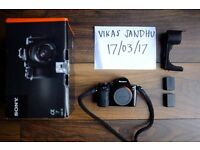 Sony A7, mint condition, with spare batteries and leather half-case