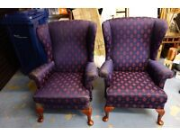 Two Worn But Serviceable Parker Knoll Chairs plus Footstool