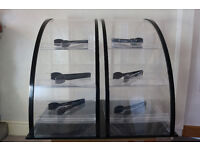 Coffee shop Confectionery / Cake display stand 3 tiers black self serve with sneeze guard and tongs