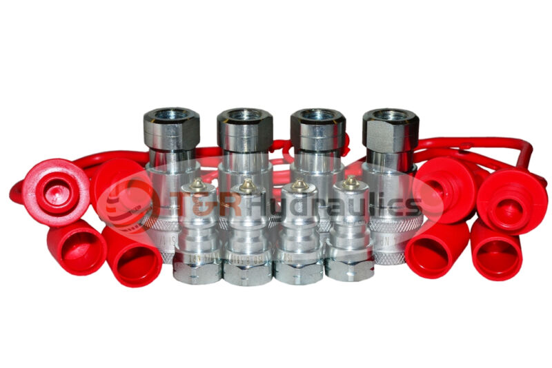 """(4) 1/4"""" ISO-B Hydraulic Quick Couplers w/Dust Cap&Plug FREE SHIPPING"""