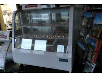 White counter top food display cabinet ideal for a cafe or sports club