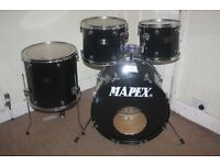 "Vintage Mapex Venus Black 5 Piece Drum kit - 12"" + 13"" + 16"" Toms + 22"" Bass + 14"" Snare DRUMS ONLY"