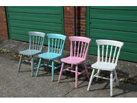 4 x Mid Century Shabby Chic Painted Chairs Farmhouse
