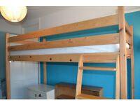 High/sleeper/Loft Bed Single 3ft Pine