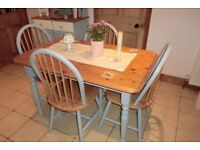 shabby chic light blue painted pine table/chairs/reduced