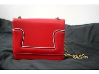 Vintage Red Handbag / Purse with Gold Chain
