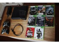 Xbox 360 S 250GB Slim with 8 Games and 2 Controllers