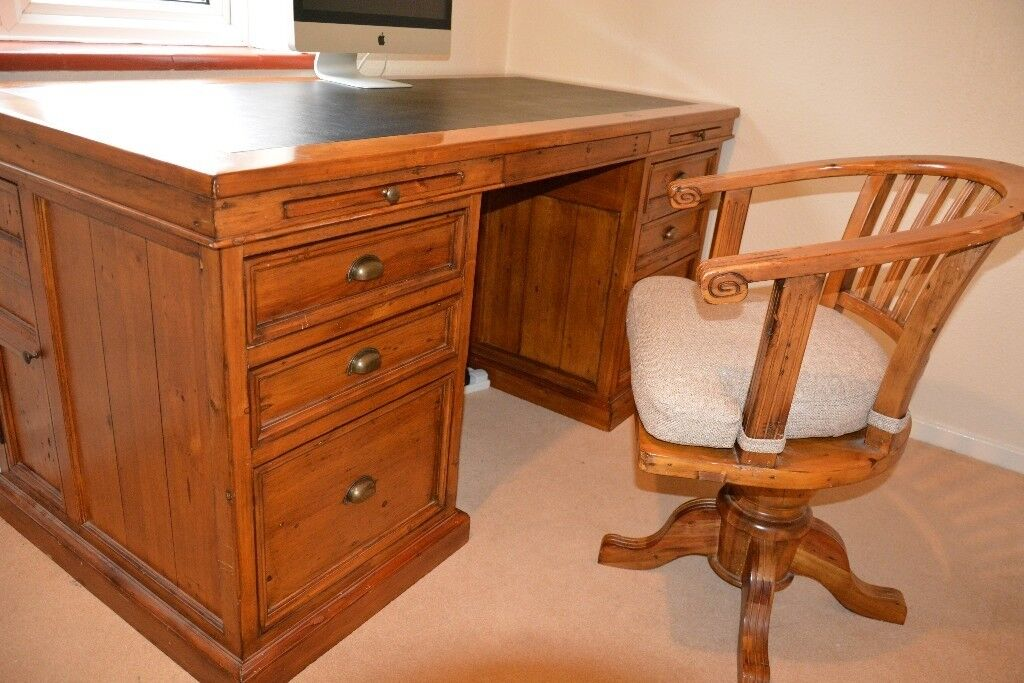 Large Solid Wood Double Pedestal Desk Swivel Chair Vintage Style