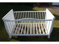 Kiddicare Sleigh Cot Bed/Toddler Bed White. 3 height adjusts, used (140 x 70cm)