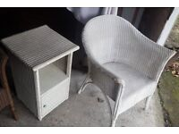 Lloyd Loom chair and bedside table