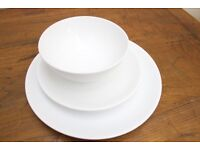 IKEA WHITE 18 PIECE DINNER SET - BOWL, SIDE PLATE & DINNER PLATE Pre-owned