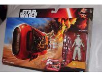 "STAR WARS Ep7 Rey's Speeder (Jakku) Vehicle (Hasbro) inc Special Edition 3.75"" Figure - NEW IN BOX"