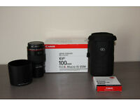 Canon EF 100mm f2.8 L Macro IS USM Lens + Accessories