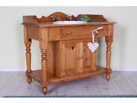 SOLID PINE WASH STAND WITH BASIN & BRASS TAPS - CAN COURIER