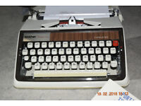 Vintage Brother 1300 Deluxe typewriter with carry case and instructions