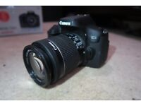 Canon 750D DSLR with 18-55 kit lens, boxed. As New.
