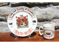 Vintage Bristol 1373 - 1973 plate and Cup 600th Year Since Foundation of Bristol City Mug
