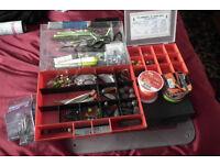 TACKLE BOX OF SEA FISHING GEAR.