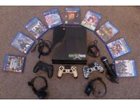 PS4 500GB console, 3 remotes, 2 wired headsets, 9 games, HDMI cable