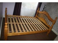 Solid Pinewood double bed with Mattress and slats