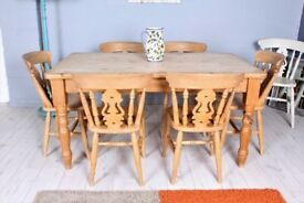 DELIVERY OPTIONS - 5 FT FARMHOUSE PINE TABLE & 6 BEECH FIDDLE BACK CHAIRS WAXED