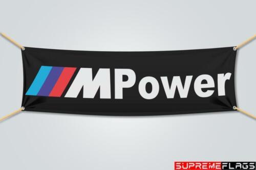 BMW Flag Banner M Power Car Racing Shop Garage Black (1.5x5 Ft)