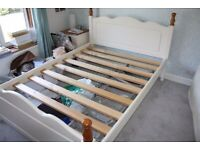 Solid Pine Double Bed & Matching Bedside Tables + With/Without IKEA Mattress -