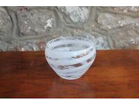 Stunning Vintage Rosenthal Glass Bowl Studio-Line Art Glass 14cm Clear & White Glass Art