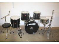 Vintage 1990s Premier APK Black 5 Piece Full Drum Kit 22in Bass + Sabian Cymbals - £425 ono